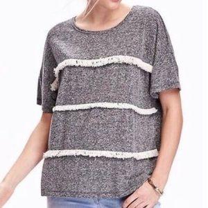 NWT Old Navy Fringe Stripe Heather Grey T-Shirt